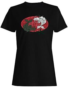 Pescados del koi con la novedad divertida de la luna roja camiseta de las mujeres rr89f
