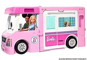 Barbie Caravana para acampar 3 en 1 de Barbie con piscina, camioneta, barca y 50 accesorios (Mattel GHL93)