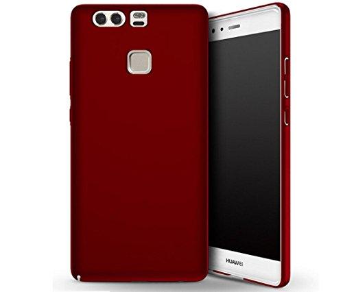 eiision-huawei-p9-fundaultra-ligero-suave-mate-sedoso-pintura-pc-funda-protectora-de-telfono-rojo