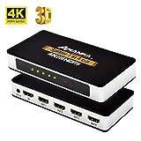 AMANKA HDMI Splitter/Ripartitore 1x4 Distributore Segnale a 4 vie, Supporta 4K UHD 3D,Sdoppiatore HDMI 1 Entrata 4 Esporta per HDTV STB PS3 DVD Multmedia PC Ect, Alluminio
