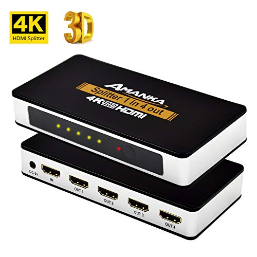 AMANKA 4K HDMI Splitter 4 Fach Verteiler HDMI 1 auf 4 Support HDMI 1.4 3D 1 In 4 Out,Aluminium