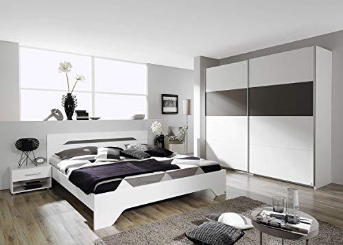 Avanti trendstore - rubi - camera da letto matrimoniale completa in legno laminato di colore bianco e grigio. questa offerta contiene il fusto del letto matrimoniale con 2 comodini ed un'armadio ad ante scorrevoli.