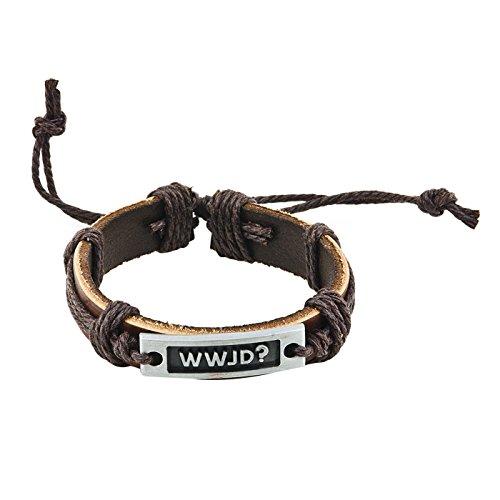 Christliche Geschenkideen °* Leder-Armband mit Metallplatte WWJD - What Would Jesus do
