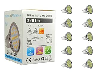 MiEco® GU10 LED Bulb 4 Watt - 10 Pack - Dimmable (LED Dimmer Switch Required) - 320 Lumens - 120º Beam Angle - 240v - Aluminium Heat Sync To Ensure 50,000 Hour Lifespan