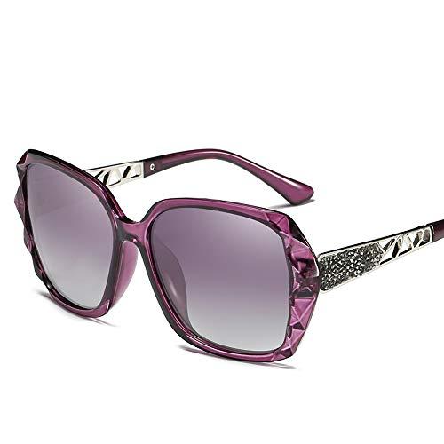 Frauen übergroße polarisierte Sonnenbrille Driving Glasses Gespiegelte Linse UV 400 Schutz Farbe Objektiv,Purple -