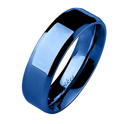Mianova Unisex Band Ring Edelstahl Poliert Freundschaftsring Herrenring Damenring Partnerring Damen Herren Blau Größe 72 (22.9) 8mm Breit