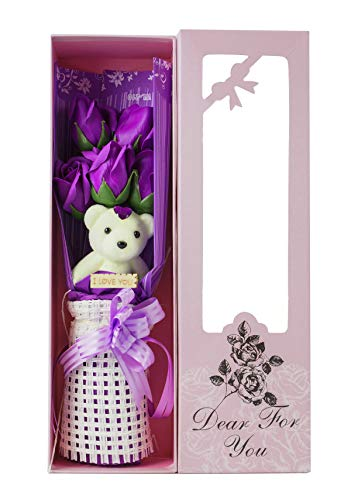 Adabele Gifts sf501a Seifenrosen mit süßem Teddybär, Rot Art Deco 5 Purple Roses and 1 Bear