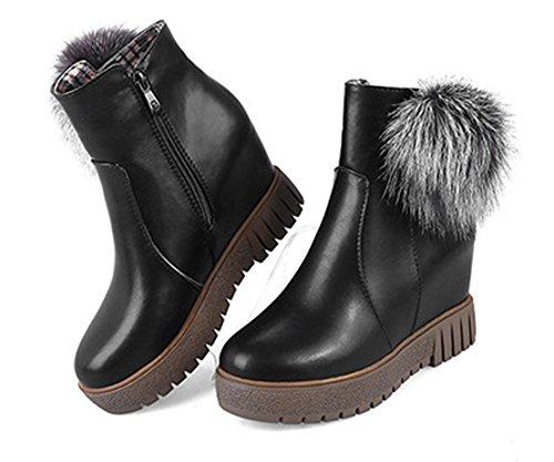 Noir Fashion Bottes Compensé Femme Aisun Talon Bottines Plateforme vfwqHC