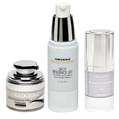 Omiera - Conjunto para el cuidado de la piel con tres productos de omiera; crema glocione revitalizante de la piel y antiarrugas, tratamiento illumizone contra ojeras