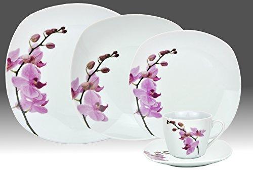 60pezzi set di posate da tavola per 12persone di Kyoto, in porcellana bianca con motivo orchidea, di forma quadrata con angoli arrotondati