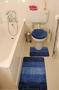 Blau 3-teiliges BADEZIMMERGARNITUR Badematten & WC Vorleger Bezug Toilettendeckel Set Bathroom Rug Mat