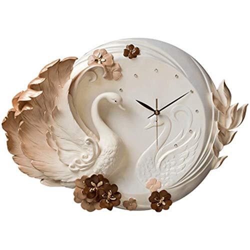 V.JUST 3D Relief Wand Uhr Wohnzimmer Harz Kunst Uhren Kreative Dekorative Uhr Stumm Schlafzimmer Uhr Quarz Schwan Uhr,A