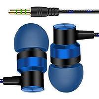 Auriculares con micrófonos Sannysis auriculares in ear headphone con cable 3.5mm de alta calidad deportivos para móvil y mp3 reproducir música, iphone, samsung, huawei, xiaomi, mp3, pc (azul)