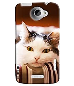 Omnam Cat Feeling Sad Printed Designer Back Cover Case For HTC One X
