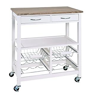 Haku-Möbel Küchenwagen Chrom weiß-Eiche hell 68 x 37 x 84