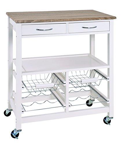 Haku-Möbel Küchenwagen, Chrom, weiß-Eiche hell, 68 x 37 x 84