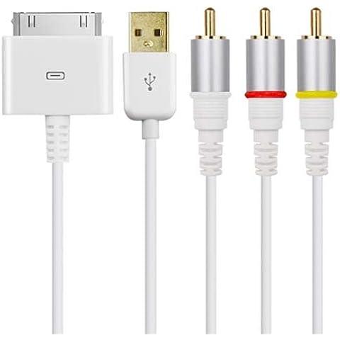 TRIXES Cavo video - audio AV RCA composito con connettore USB per Apple iPad 2, iPhone 4 e iPod