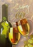 Einladungskarten 60. Geburtstag Frau Mann mit Innentext Motiv Weißwein 10 Klappkarten DIN A6 im Hochformat mit weißen Umschlägen im Set Geburtstagskarten Einladung 60 Geburtstag Mann Frau K178