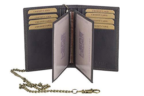 Biker-Kreditkarten- und Ausweismappe mit Kette LEAS MCL im Vintage-Stil in Echt-Leder, braun - \'\'LEAS Chain-Series\'\'