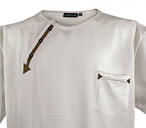 Kurzarm Herren T-Shirt in Übergröße mit cooler Applikation von 3XL bis 8XL Ecru