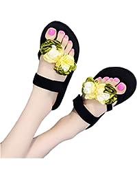 Frauen Damen Bohemia Blume Flip Flops Sommer Dick Bottom Mode Strand Leichtes Tanga Sandalen Gelb y4myggYp