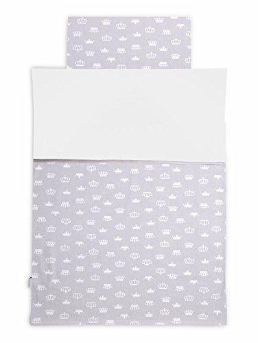 KempKids. Bettdecke und Kissenbezug Set, Größe: 90 x 120 cm, Baby Bettwäsche - Kronen
