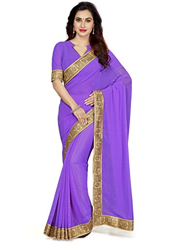 Saree Swarg Lavender Faux Georgette Saree with Blouse_7113