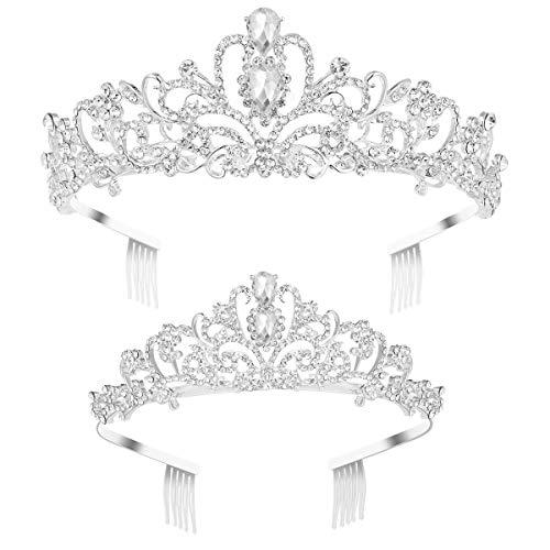 Frcolor Kristall Tiara 2 Pack Strass Tiara Krone mit Kamm Hochzeit Braut Geburtstag Tiara Stirnband
