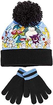 Pokémon Pikachu Set di Cappello e Guanti per Ragazzi, Berretto Pompon Caldo e Morbido Con Pikachu Snorlax Char