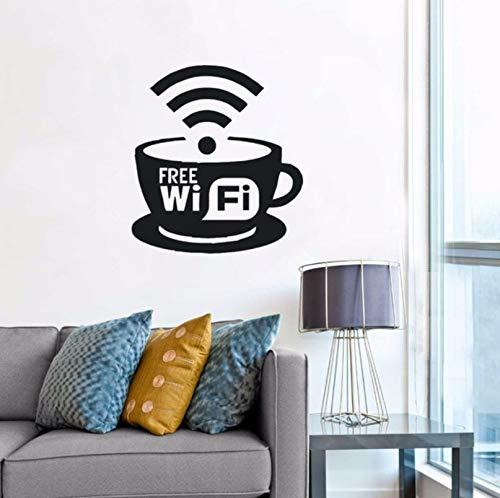 Ponana Free Wifi Logo Wall Window Decal Coffee Cafe Restaurant Wall Art Decoration New Design Free Wifi Cup Vinyl Wall Sticker 57X63Cm