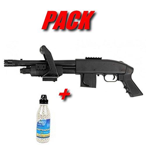 Pack De Noel Cadeau Airsoft Cybergun Mossberg M590 Chainsaw Fusil A Pompe A Bille Avec Bouteille de 2800 Billes De 0.15gr (Puissance 0.5 joule)