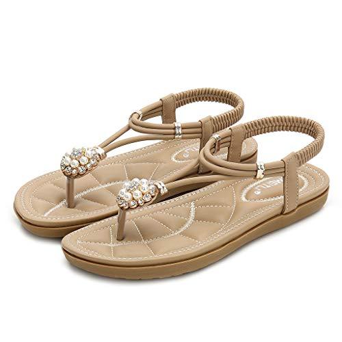 Moserian Damen Schuhe Mode Rom Floral Flip Flops Niedrige Absätze Sandalen Kristallperlenschuhe