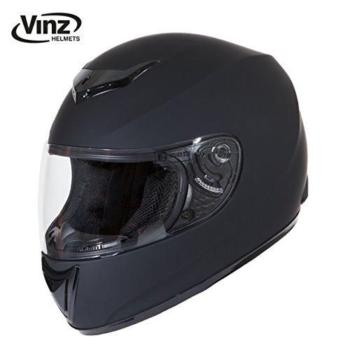 Vinz Integralhelm Basic | Motorradhelm in Gr. XS-XL | Integral Helm mit Visier (L (59-60 cm), Matt Schwarz)