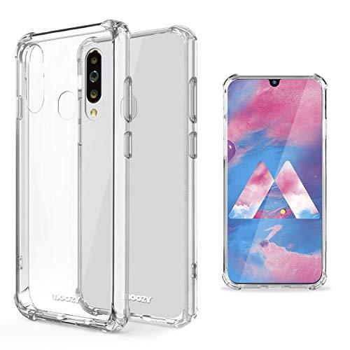 moozy cover silicone antiurto per samsung m30, galaxy m30 - custodia trasparente morbida crystal clear tpu case