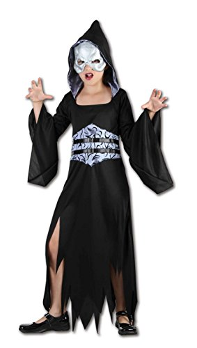 Girls After Dark Reaper Kinder Halloween Kostüm Alter 4-12 Jahre (Medium (Age 7-9 Years), Schwarz)