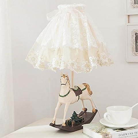 LGK&FATables de chevet et lampes de table en dentelle de style européen Sweet Girl Cute Cartoon Enfants Chambre à coucher lampe de chevet 28*53cm Interrupteur bouton