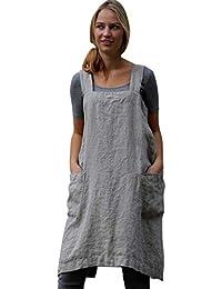 Modaworld Vestidos Cortos Mujer Vestido de Trabajo de Mujer Delantal de señoras Delantal Cruzado Cuadrado de algodón de Lino de Mujer Vestido de Trabajo de jardín S - 5XL
