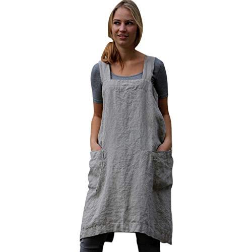 Bfmyxgs(Verkauft nur 0,01EUR) Damenmode aus Pinafore Baumwolle Leinen Kreuz Schürze Garden Pinafore Square Dress Kleid -