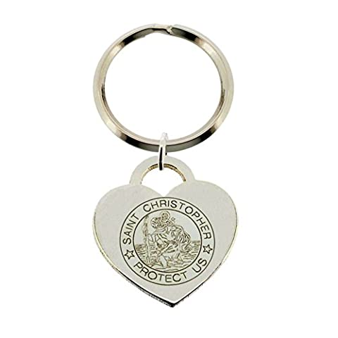 Solid 925 Sterling Silver Heart Shaped Engraved St Christopher Keyring Keychain Key Fob In Gift Box