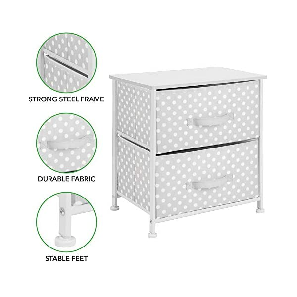 mDesign Chest of Drawers - Children's Bedroom Storage System with 2 Drawers and Flat Top - Nursery Storage Unit with Polka Dot Design - Grey/White mDesign SWEET STORAGE: This 2-drawer side table is a must-have accent to complement any child's room. The grey fabric is adorned with a sweet white polka dot pattern. STORE ANYTHING: The bedroom drawers are a versatile unit and can be filled with anything. Use to store toys, accessories, clothes, books, nappies and more. VERSATILE UNIT: Although the unit works best as bedroom storage, its uses do not stop there. Place in play rooms, nurseries and other child-specific areas of the home. 3