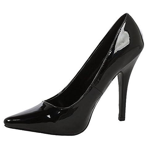 ByPublicDemand Alex Mens and Womens High Stiletto Heel Black Patent