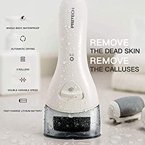 Pedicure Hard Skin Remover Foot Callus Remover Electric Foot File Rechargeable Dead Skin Remover for Feet Electric Pedicure Kit Proffessinal Feet Care with 3 Roller Heads 1 Cleaning Brush USB Cord