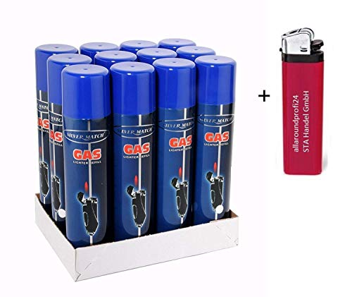"6 x 300ml Universal -near zero impurities- Feuerzeuggas Nachfüllgas Feuerzeug (5,55 € p. 1 Liter) + 1 Feuerzeug""allaroundprofi24"""