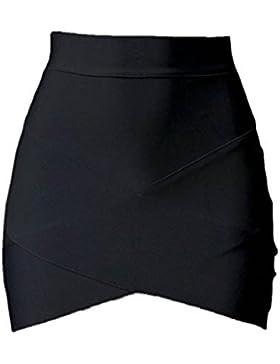 Amlaiworld Arbeiten Sie Weinlese Frauen Stretch-hohe Taillen Kurz Plain Skater Minirock