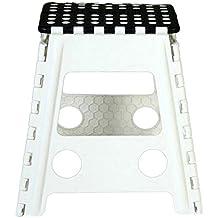 Taburete plegable blanco y negro 40X39X32