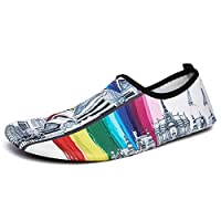 Azornic Quick-Dry Water Shoes Barefoot Slip On Aqua Yoga Beach Surf Swim Socks for Men Women (UK 2.5/3, White Rainbow)