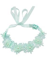 BONAMART ® Damen Elegant Hochzeit Braut Spitze Perlen Blumen Stoff Stirnband Haarband