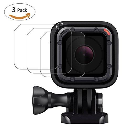 TedGem 3 Stück Displayschutzfolie aus Hartglas, 2 Pack Objektiv Cover – Zubehör für GoPro HERO5 Session Action Kamera Film Zubehör