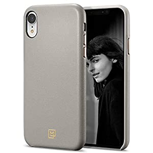 Spigen iPhone XR Case Leather [LA MANON Câlin] with Minimal Design and Easy Grip of Leather For iPhone XR (2018) - Oatmeal Beige