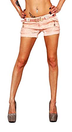 10371 Fashion4Young Damen Sexy Stretch-Stoff Hotpants Short kurze Hose Hot Pants Shorts Panty jeans (XS=34, Apricot)